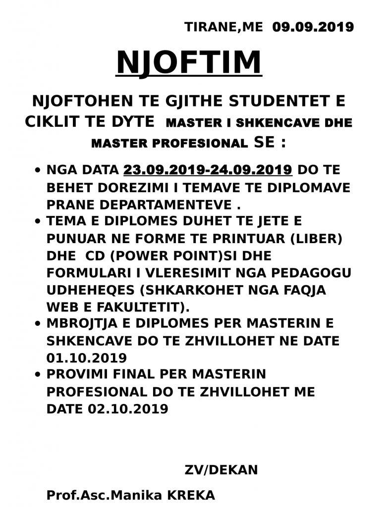 NJOFTIM mikroteza dhe provimi final 2018-2019
